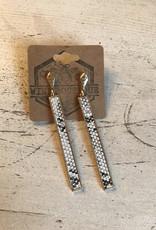 Wink Snakeskin Drop Bar Earrings
