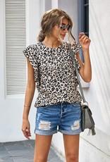 Wink Ruffled Sleeve Leopard Print Top