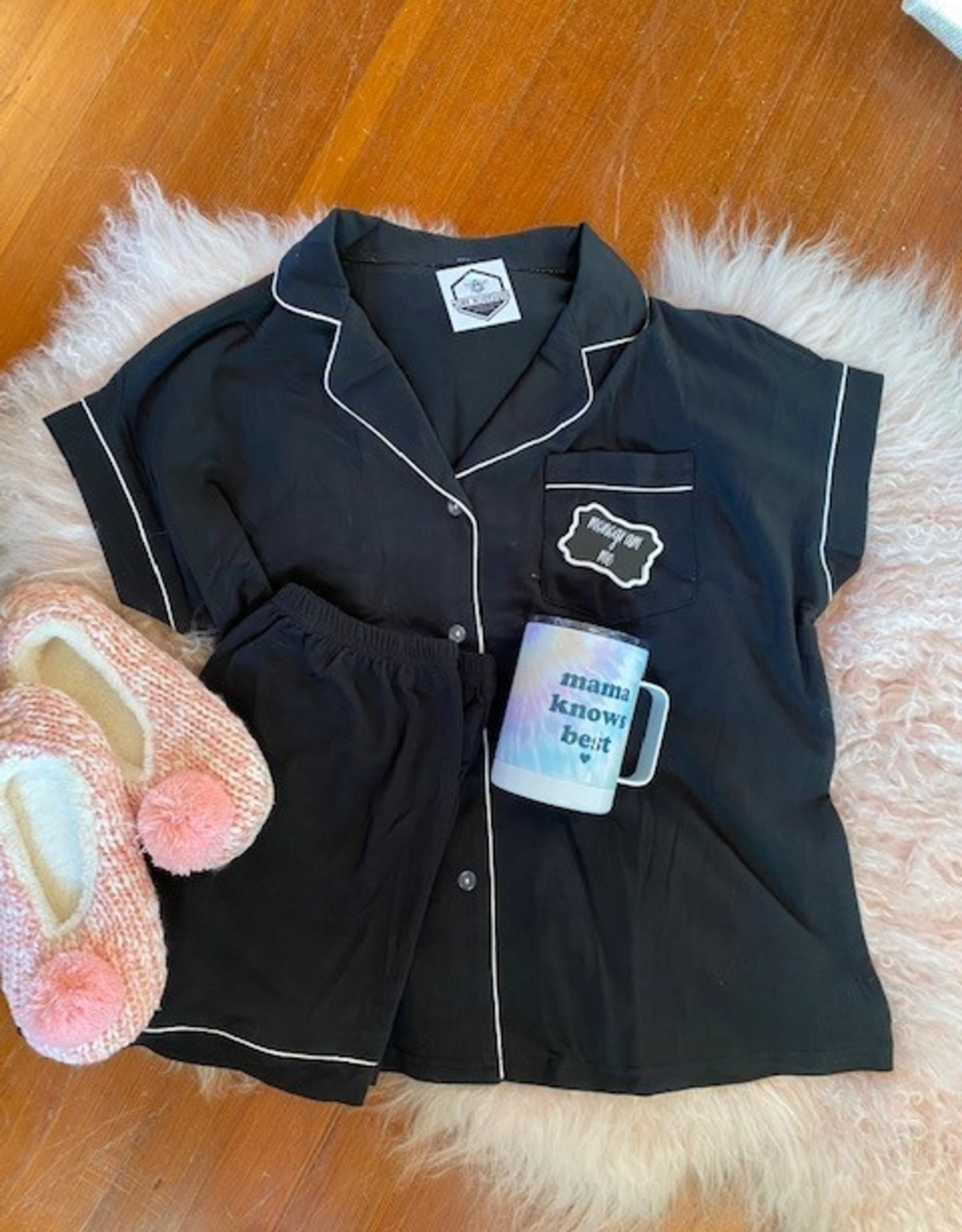 Wink 2 Piece Black Pajama Set
