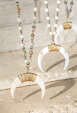 Wink Natural Stone w Crescent Horn Short Necklace