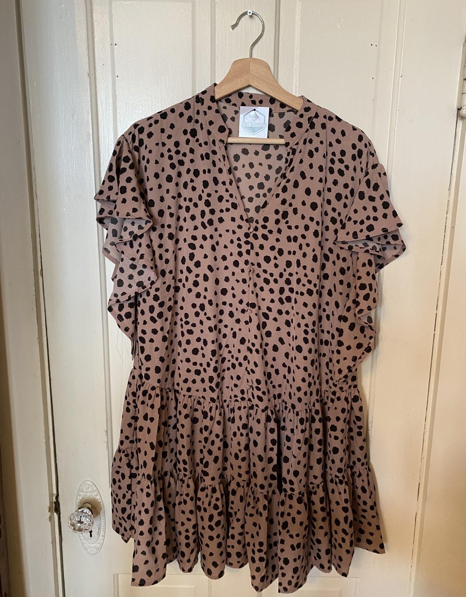 Wink Leopard Print Tiered Dress