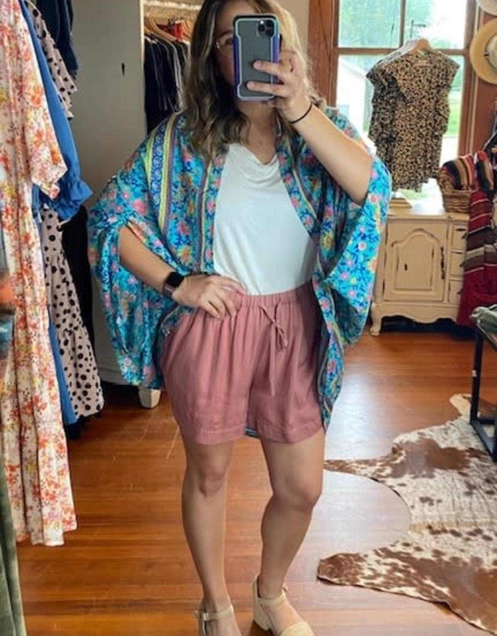 Wink Drawstring Shorts-Mauve