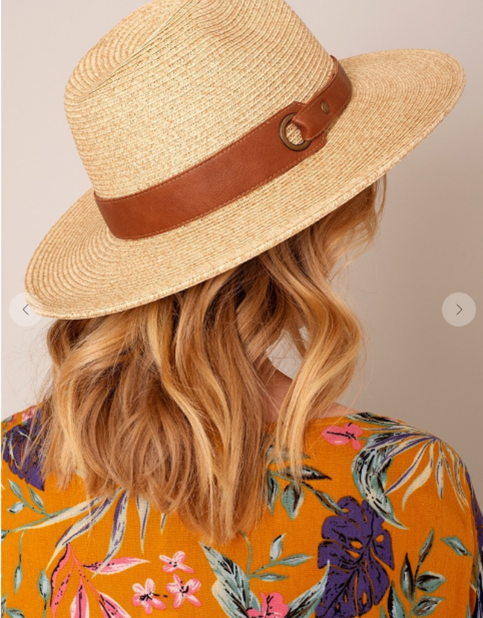 Wink Panama Hat with Leather Grommet Band