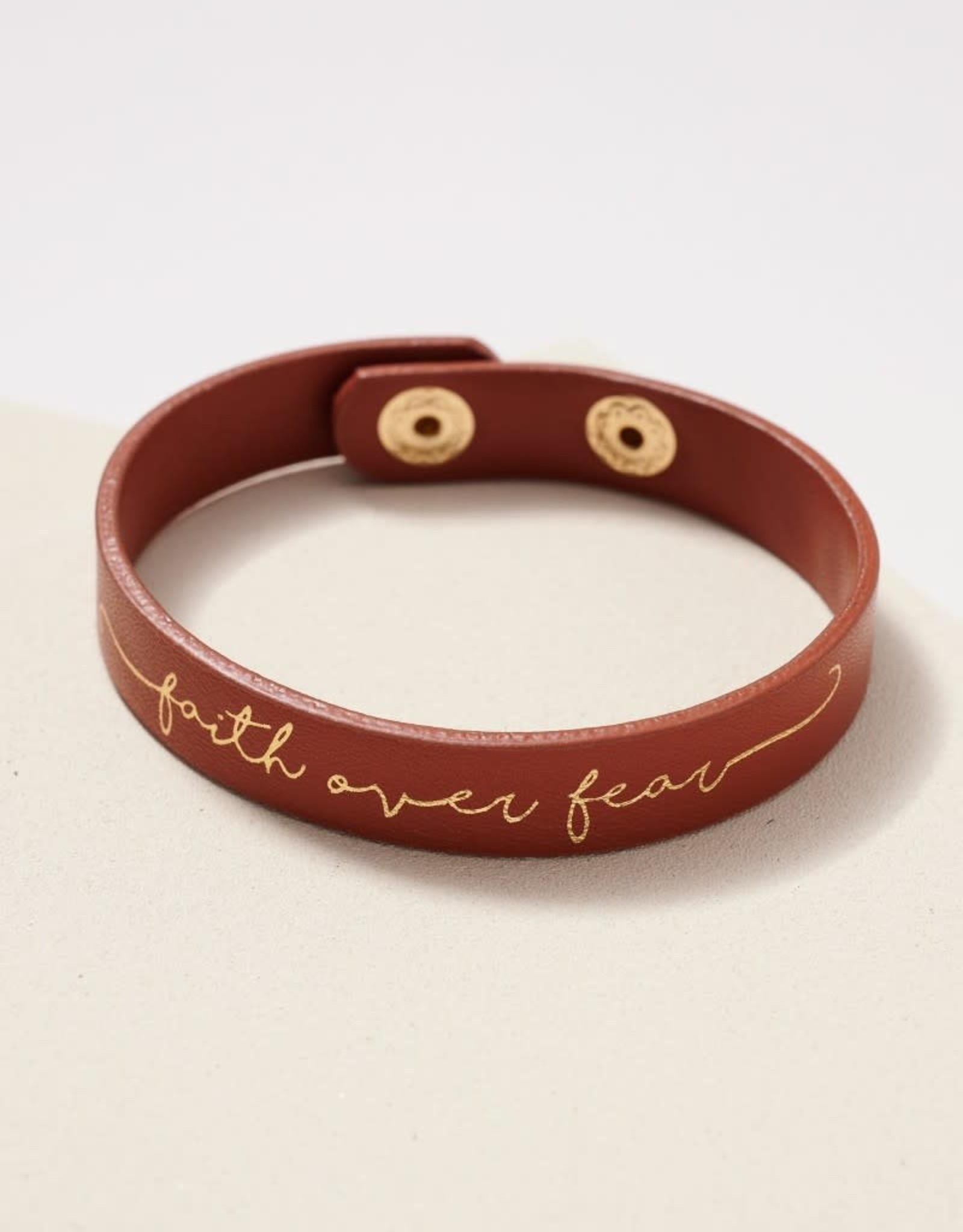 Wink Faith Over Fear Leather Bracelet