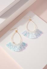 Shimmer and Shine Iridescent White Tassel Earrings