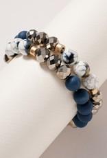 Wink The Kenna Glass Wood Stones Beaded Bracelet