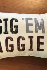 Wink Gig Em Aggies Distressed Pillow