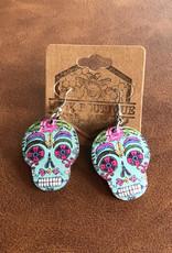Wink Wooden Sugar Skull Earrings