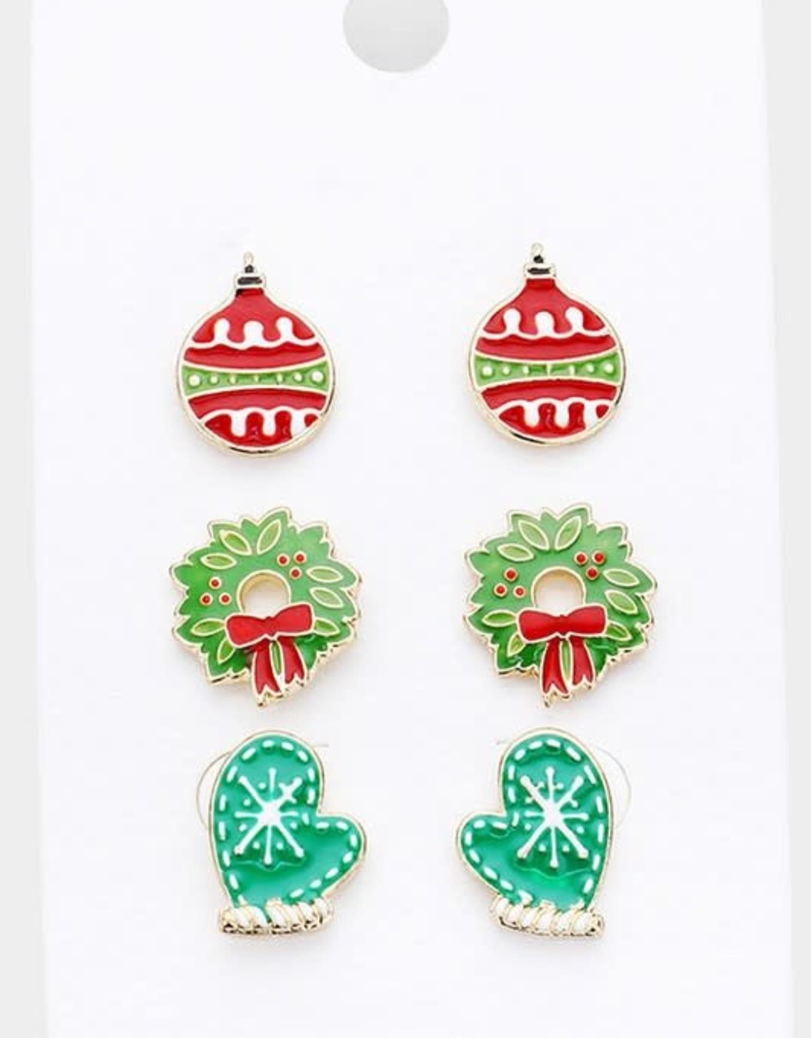 Wink 3 Pair Christmas Enamel Stud Earrings