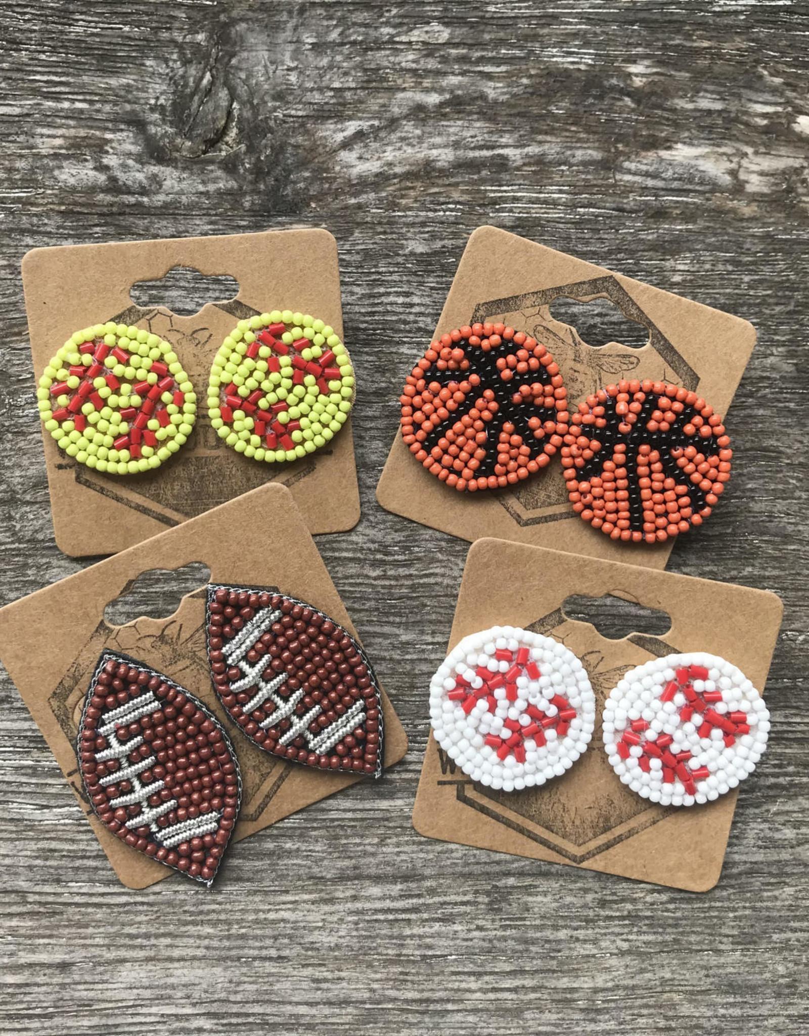 Wink Seed Beaded Sports Stud Earrings