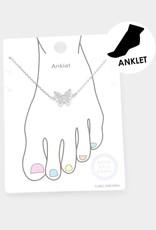 Wink CZ Embellished Butterfly Charm Anklet