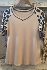 Wink Waffle Knit Shirt w./Leopard Flutter Sleeves