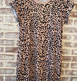 Wink Leopard Tee Dress W/Pockets