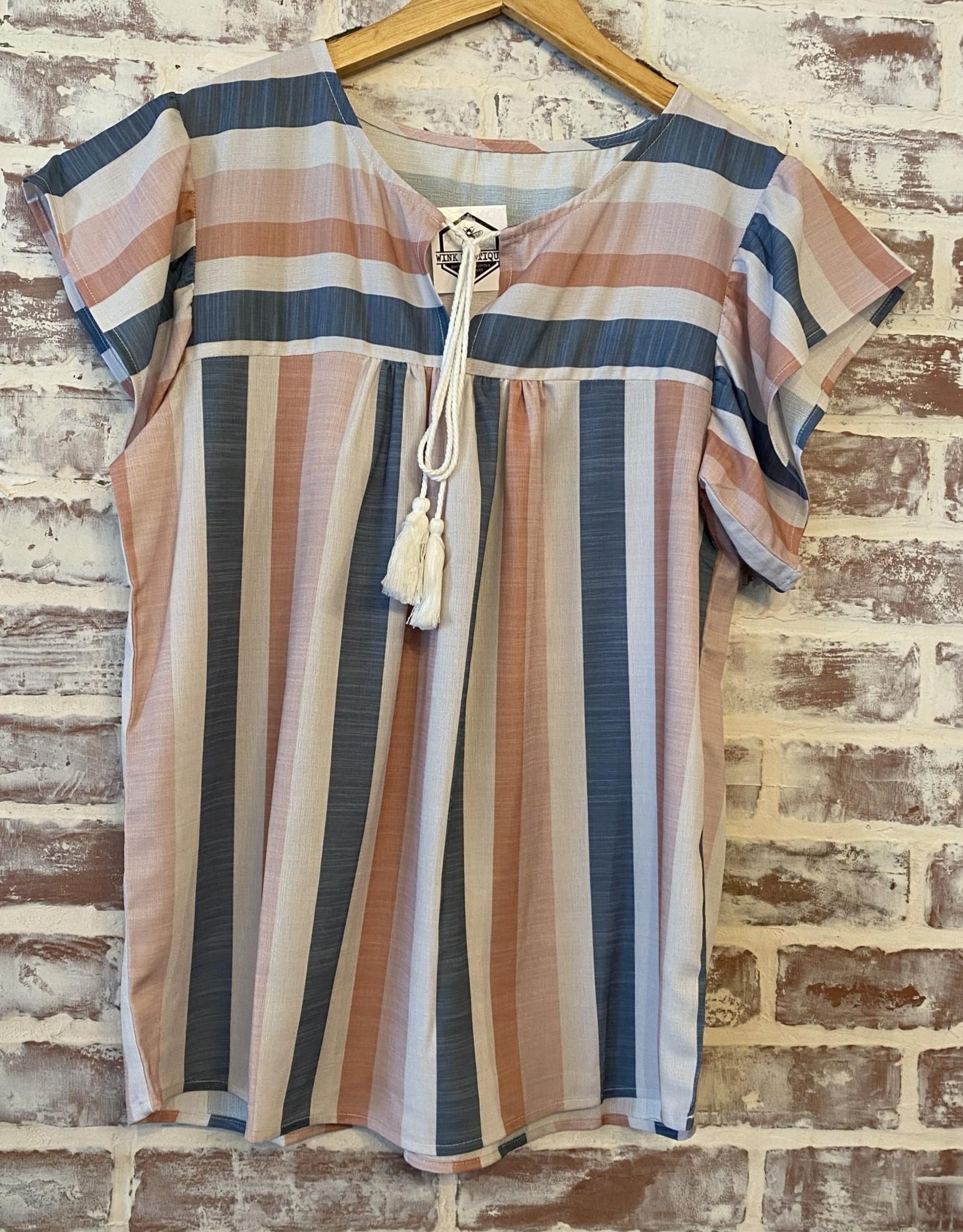 Wink Stripe Shirt W/Tassles