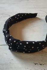 Black with White Polka Dots Knot Headband
