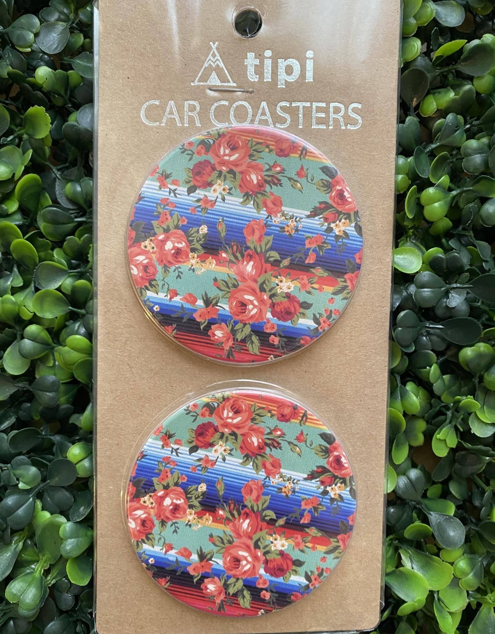 Wink Floral Serape Car Coaster