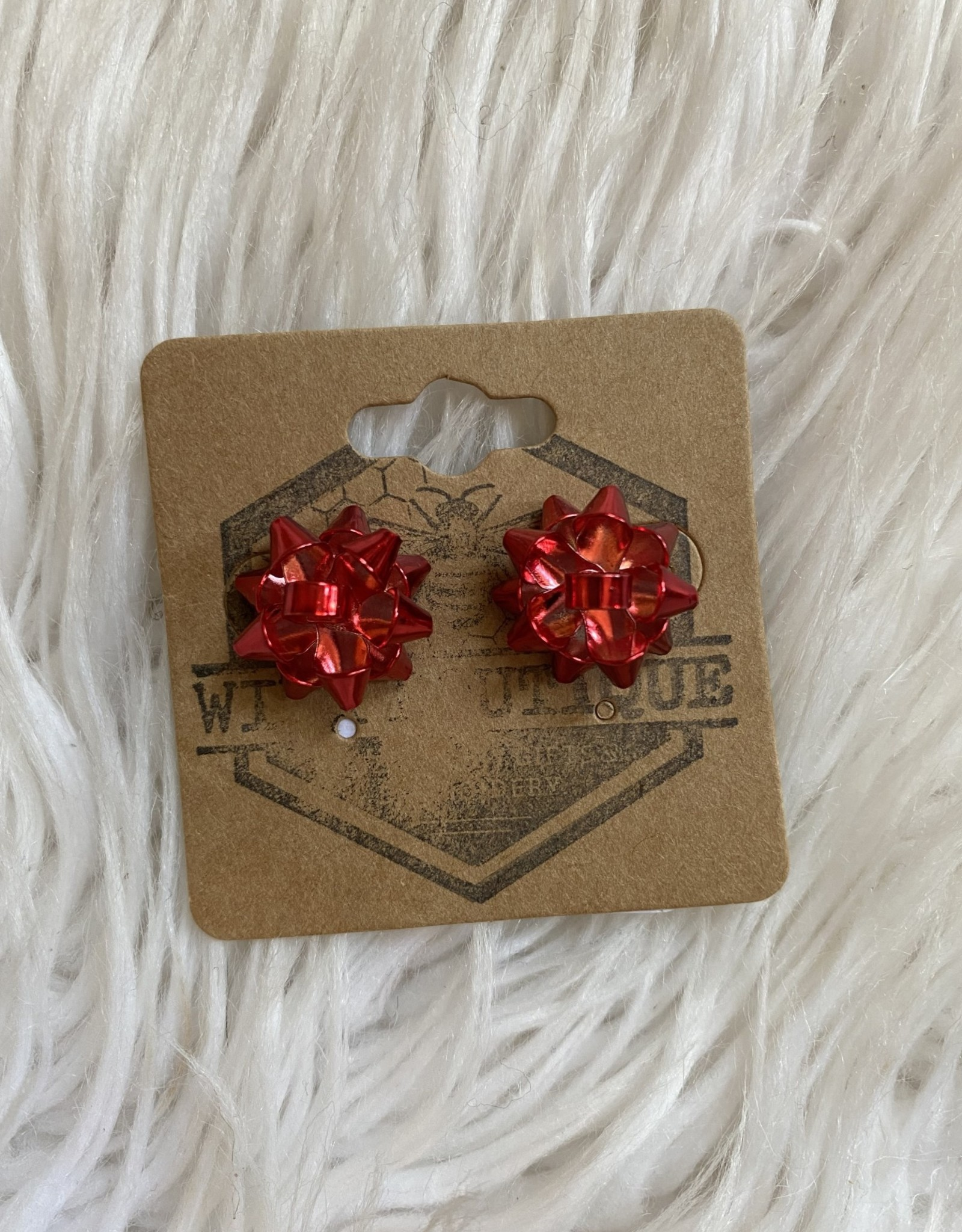 Wink Christmas Gift Bow Earrings - Red