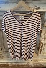 Wink Modal Short Sleeve V/Neck with Scallop Hem Wine Stripe