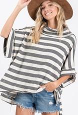 Cowl Neck Striped Top