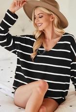 Wink Brushed Black & Ivory Stripe Top