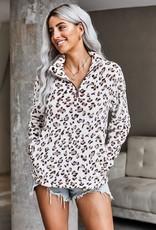 Wink Callie Quarter Zip Pullover-Leopard