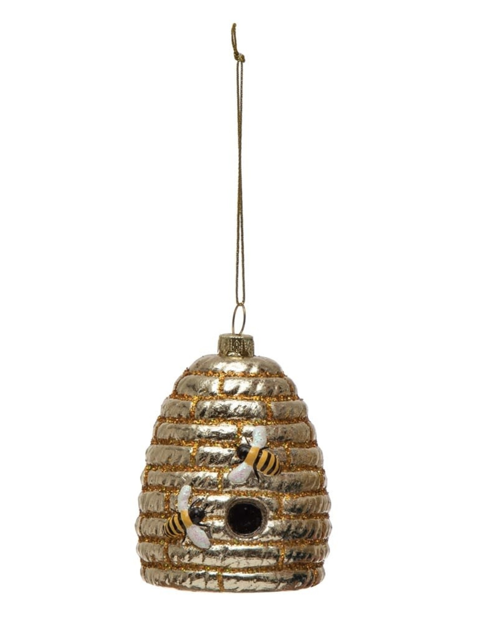 Wink 3 1/2 Hand Painted Glass Bee Hive Ornament