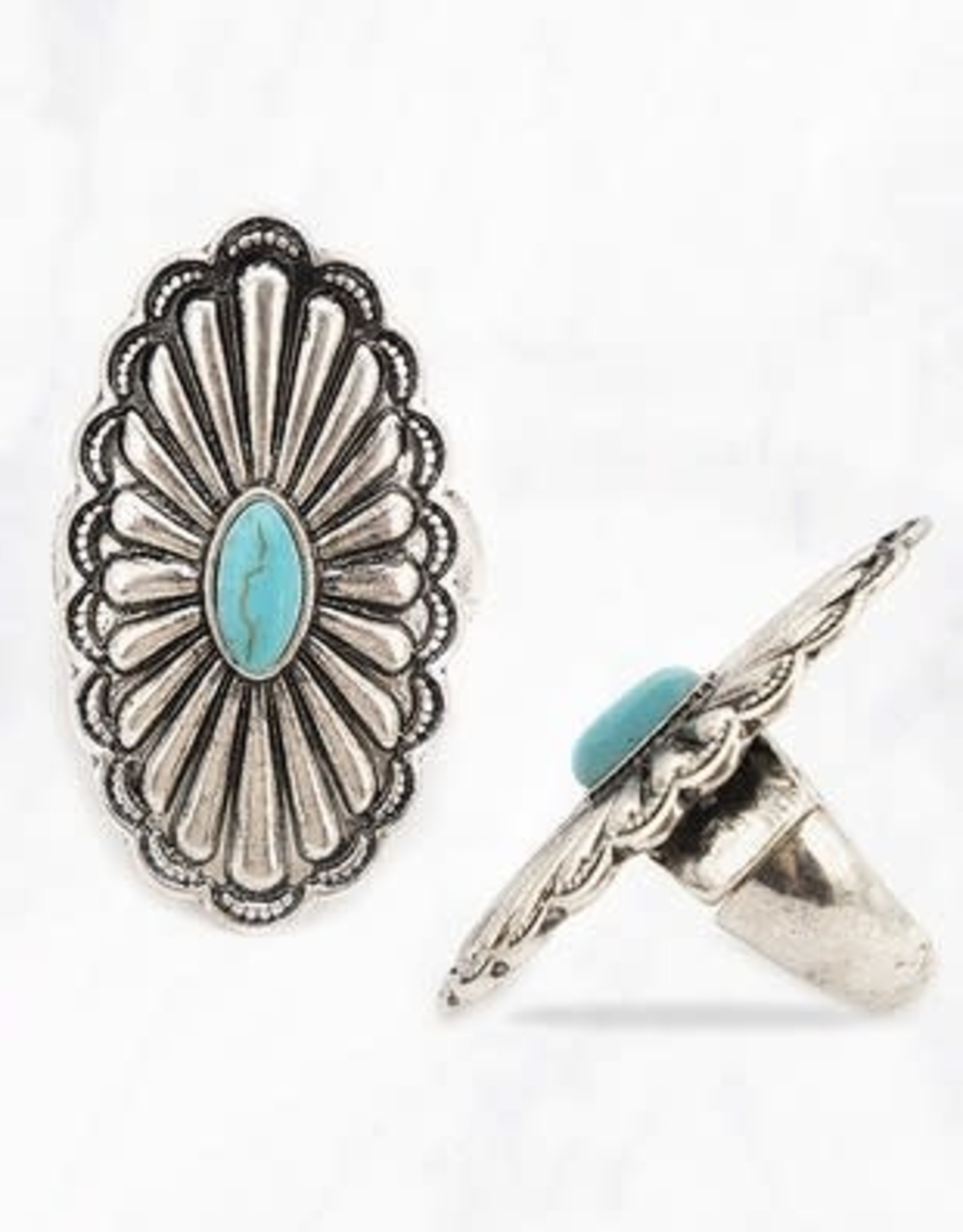 Wink Oval Turquoise Stone Filigree Ring