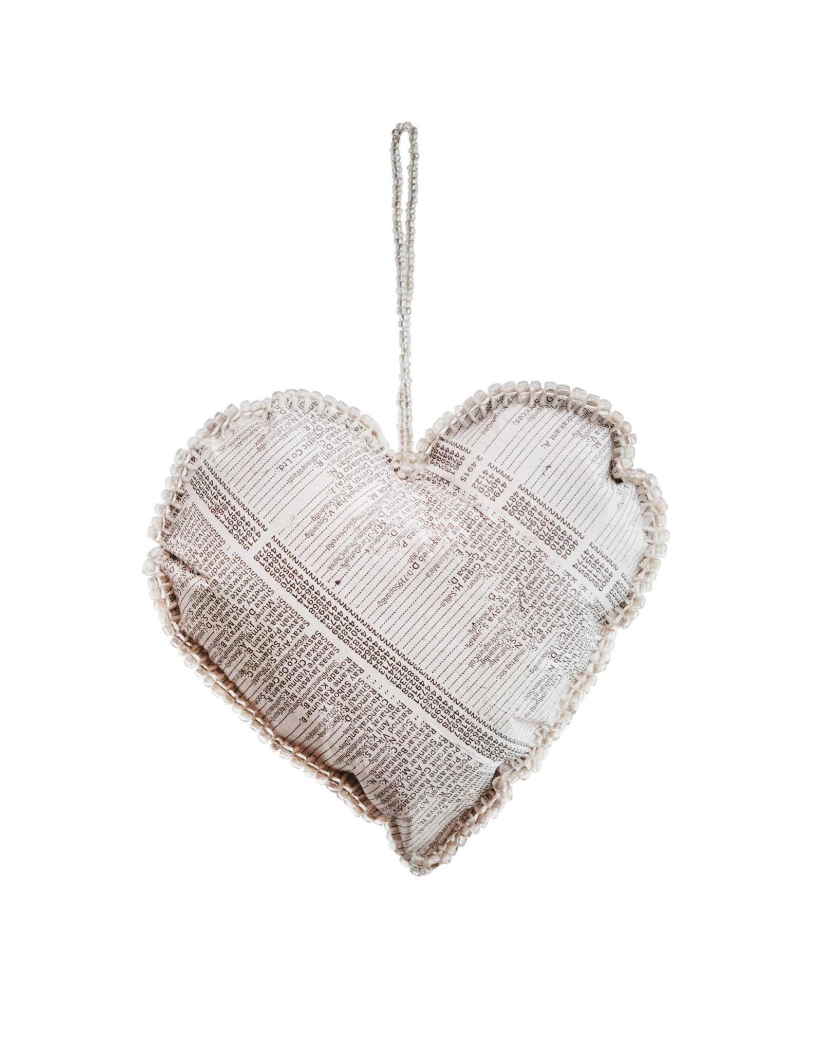 "Wink Paper Heart Ornament w/Mercury Glass Beads 3.5"""