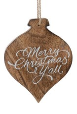 Wink Wooden Merry Christmas Y'all Ornament