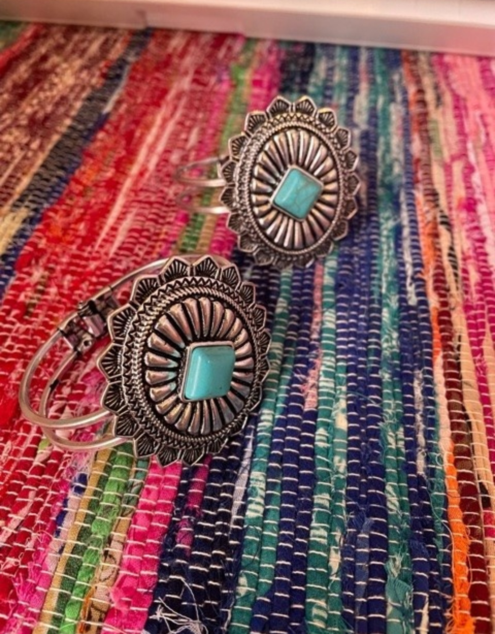 Wink Concho Bangle with faux turquoise inlay stone