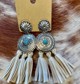 Wink Turquoise Concho Earrings with leather tassel