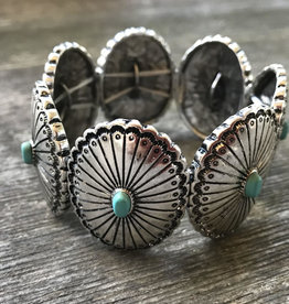 Wink Western Concho Stretch Bracelet Turquoise Inlay Stone