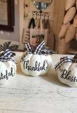 Wink Maple Bow White Pumpkin Greeter