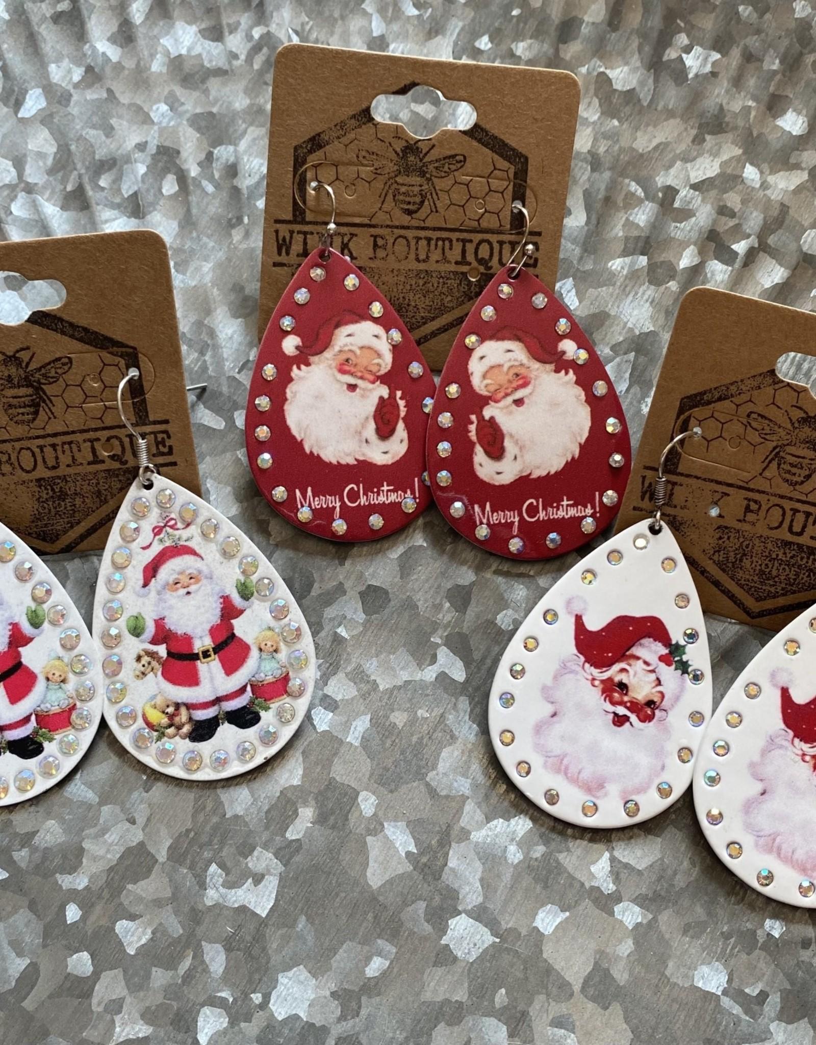 Wink Vintage Santa Earrings