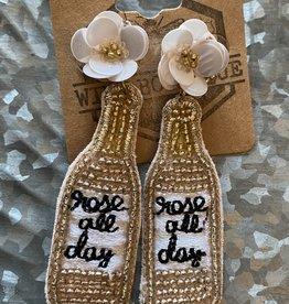 Wink Rose All Day Beaded Champagne Bottle Earrings