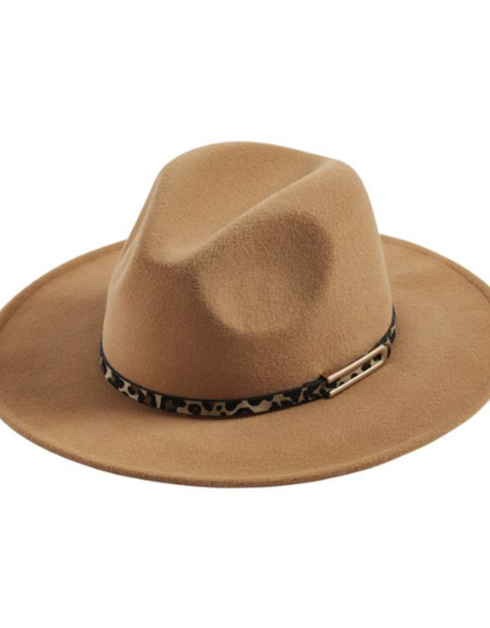 Wink The Kelly Flat Brim Hat with Leopard Hat Band