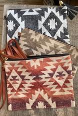Wink Tribal Print Clutch with Tassel