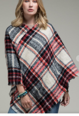 Wink Red and Black Plaid Poncho