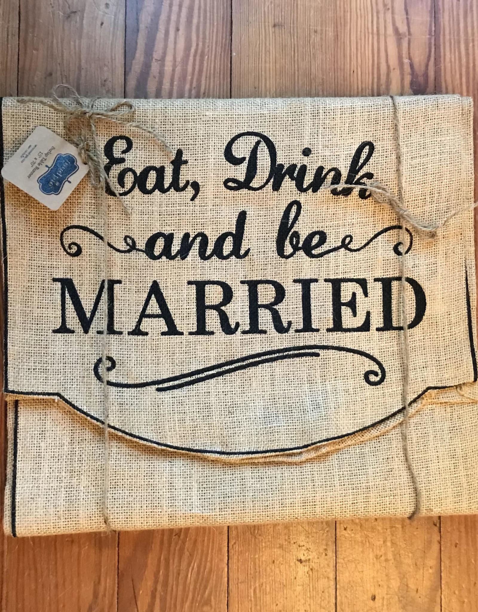 Mud Pie Married Burlap Runner