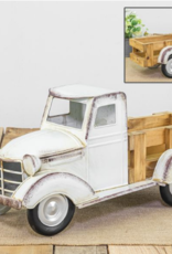 Wink Vintage White Metal Truck With Wood Plank Bed
