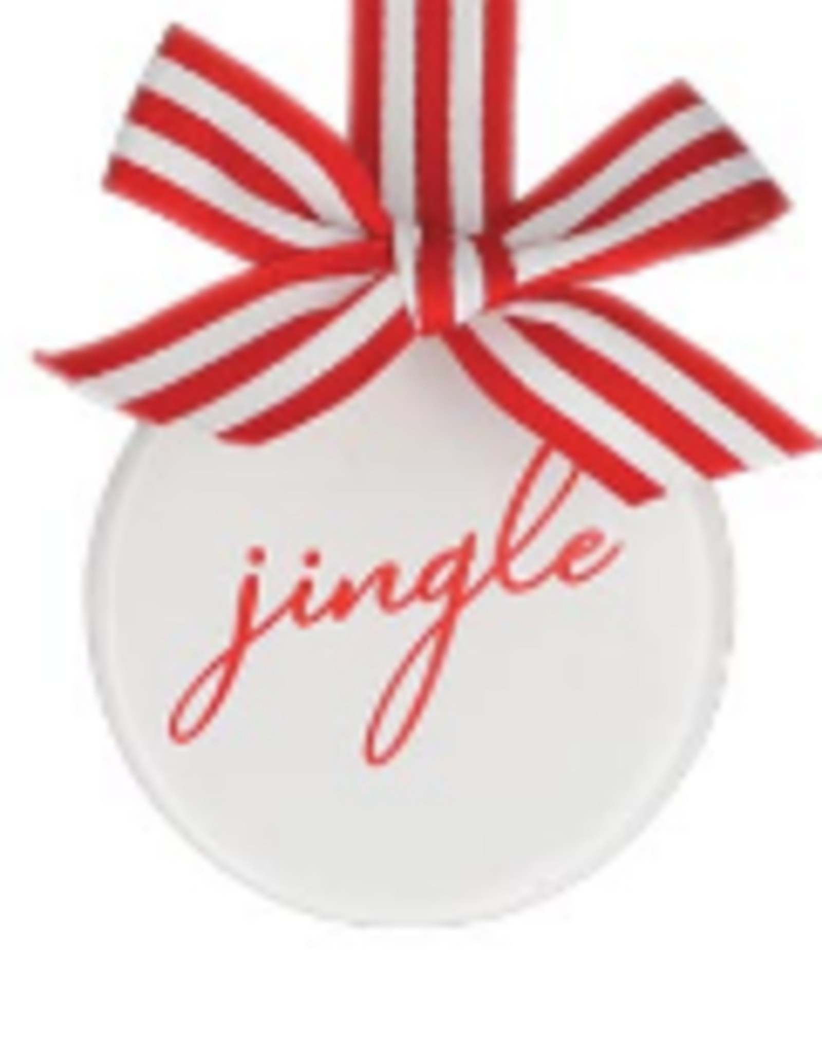 Wink Red & White Holiday Message Ceramic Disc Ornament