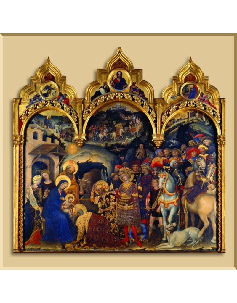 Christmas Card Triptych - Adoration of the Christ Child by Gentile da Fabriano