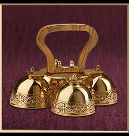 Sudbury Brass Embossed Sanctus Bells with Wood Handle