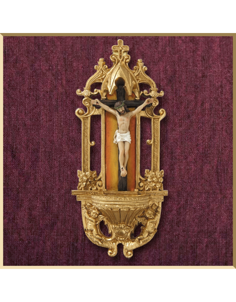 Ornate Crucifix Holy Water Font