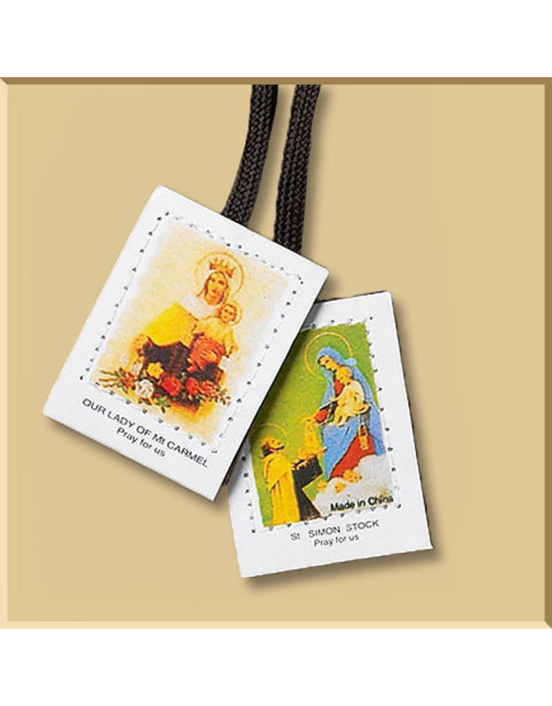 Our Lady of Mount Carmel and St. Simon Brown Cloth Scapular