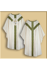 Semi-Gothic Low Mass Set - White Damask with Olive Green Orphreys and Lily Emblem