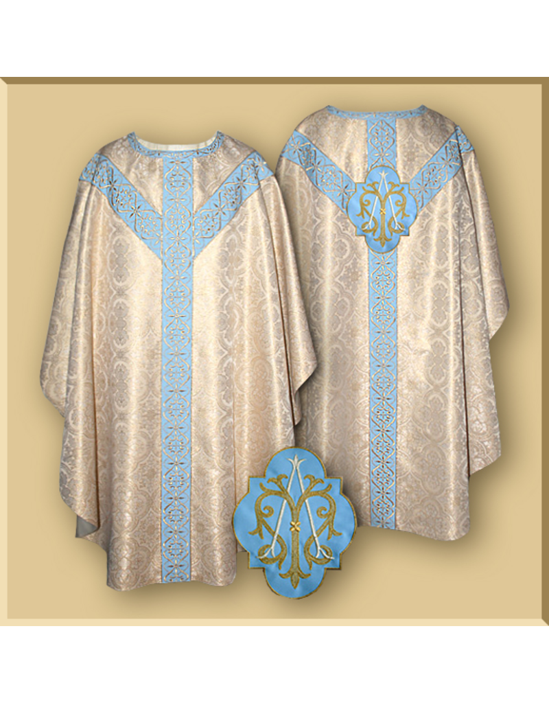 White Gold/Blue Semi-Gothic Low Mass Set - Marian Design