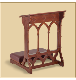 Gothic Padded Kneeler ~ Walnut Stain