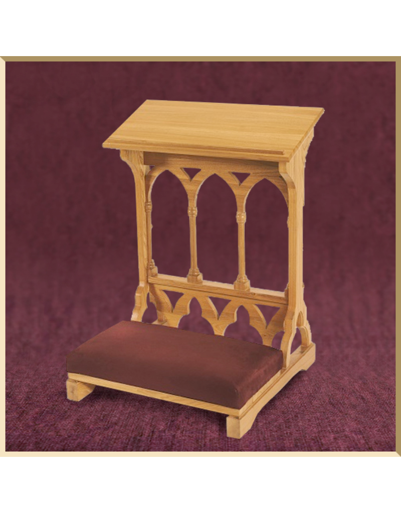 Gothic Padded Kneeler ~ Medium Oak Finish