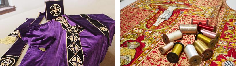 Completed velvet restoration and silk thread